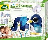 Lena 42623 - Bastelset Erstes Sticken Tiermotive, Komplettset mit 2 Stickgitter in Form von Vogel und Elefant, 10 farbige Schnürsenkel, 2 Saugnäpfe und Anleitung, Stickset für Kinder ab 3 Jahre