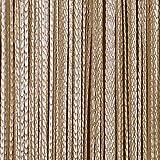 JEMIDI Fadenvorhang Tür Vorhang Gardine Schal Faden Türvorhang Fadengardine in 2 Größen (Beige, 140cm x 250cm)