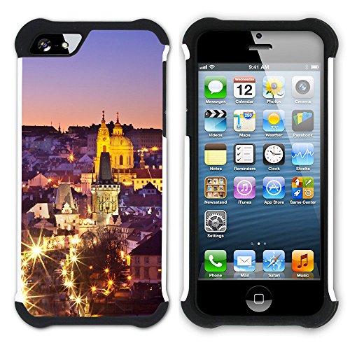 Graphic4You Prag Tschechische Republik Postkarte Aussicht Hart + Weiche Kratzfeste Hülle Case Schale Tasche Schutzhülle für Apple iPhone SE / 5 / 5S Design #8
