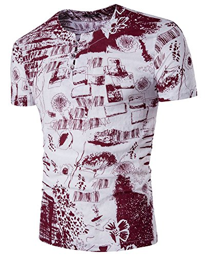 Herren Short Sleeve Casual Printed Leinen Tops T-Shirt Rot