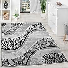 Alfombra De Diseño Con Motivo De Leopardo Serpiente Gris Negro Crema Moteado, Grösse:80x150 cm