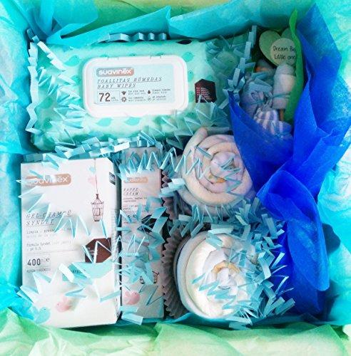 Maxi Einkaufskorb für Babys mit SUAVINEX Produkte und Geschenkset für Baby | Alles ist von Marke, 100% Baumwolle und Größe 1–6Monaten | Baby Shower Gift Idee | für Manschettenknöpfe, Geschenkidee oder für ein Maxi Geschenk für ein Baby. | Version blau, für Kinder