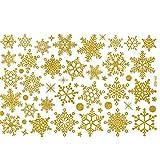 Upxiang Weihnachten Aufkleber Schneeflocke Glastür Abnehmbare Aufkleber Restaurant Mall Dekoration Decals (Gelb)