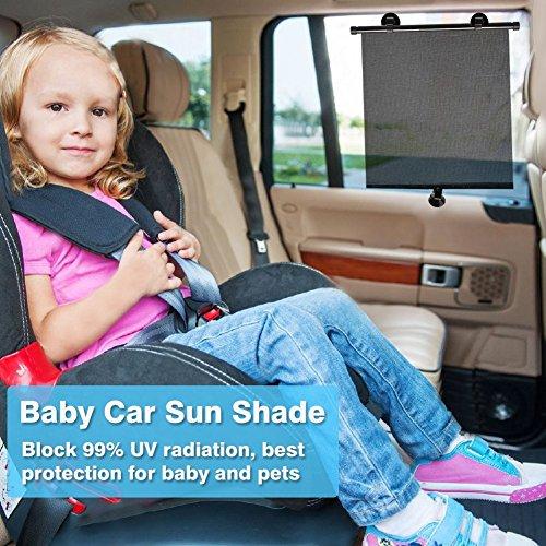 Sinbide® Sonnenblenden fürs Auto Auto Sonnenschutz Baby Sonnenrollo für Auto Sonnenschutzrollo Auto Kinder Sonnenschutz Auto Sonnenschutzblende fürs Auto Seitenscheiben Sonnenschutz (4 Stk)
