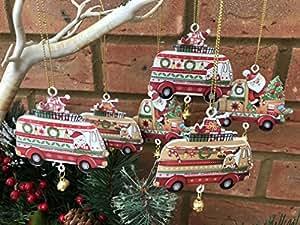 Set of 6 Metal Camper Van Truck Christmas Tree Decorations Vintage Retro Style