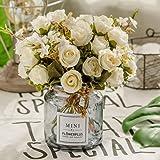 BuleXP 3 Pieza 10 Cabezas Flores Artificiales Rosas Decoración Plásticas Bouquet de Seda Simulación Flores Falsas para El Hog