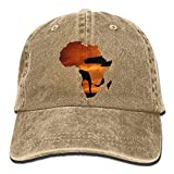 Aoliaoyudonggha Cotton Denim Cap Baseball Hat Africa Map Six-Panel Adjustable Trucker Dad Hat