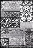 Moderner Design Teppich Vintage mit orientalischem Muster, Kurzflor, getuftet, sehr robust, Öko-Tex 100, Größe:133x190cm, Farbe:Grau