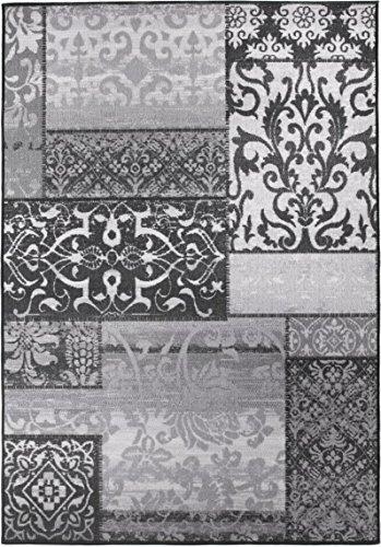 Patchwork-orientalische Teppiche (Moderner Design Teppich Vintage mit orientalischem Muster, Kurzflor, getuftet, sehr robust, Öko-Tex 100, Größe:80x150cm, Farbe:Grau)