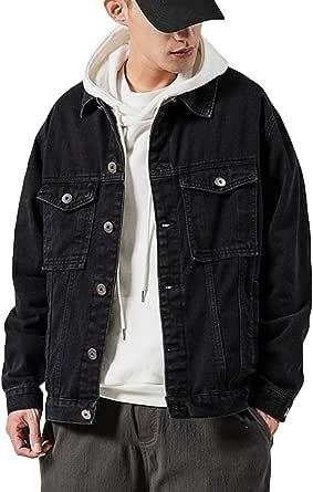 Mens Denim Jacket Cotton Washed Stretch Jackets Casual Vintage Trucker Denim Outwear Top