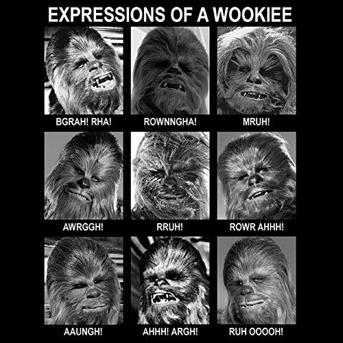 Star Wars Herren T-Shirt Expressions Of A Wookie schwarz. Offiziell lizenziert Schwarz - Schwarz