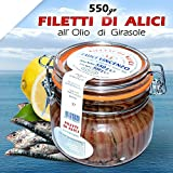 FILETTI DI ALICI ALL'OLIO DI GIRASOLE IN VASI DA 550 gr ACCIUGHE