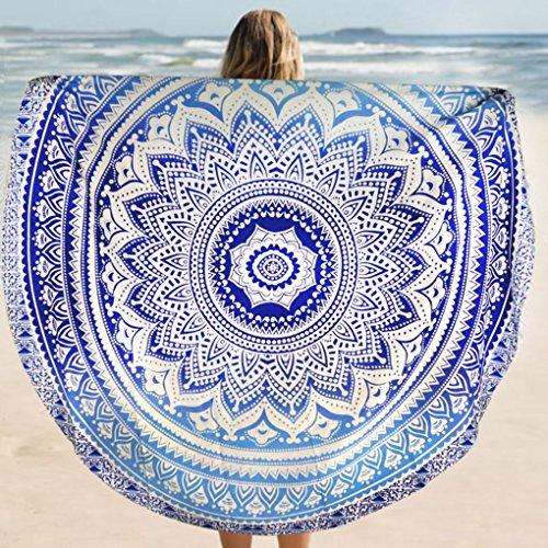 Vkospy Fader Color Redondo de algodón Tippet Mantel Toalla de Playa Yoga Mat Ronda