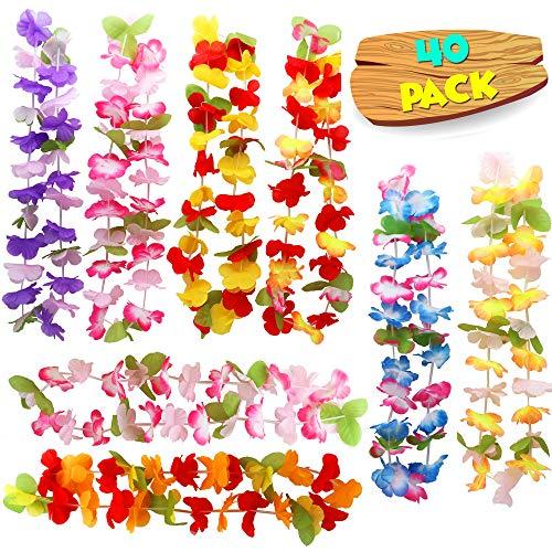 40er Hawaiikette, Blumenkette & Halskette Set - hawaiianische Lei Luau Blumen Ketten in verschiedenen & bunten Farben - perfekt als Deko & für jede Hawaii Party, Luau Girlande, Beachparty & Mottoparty