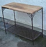 crafts & design Konsolentisch, Beistelltisch Landhaus, Metall und Holz alte Ulme, 90x40x76 cm