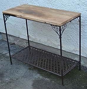 konsolentisch beistelltisch landhaus metall und holz alte ulme 90x40x76 cm k che. Black Bedroom Furniture Sets. Home Design Ideas