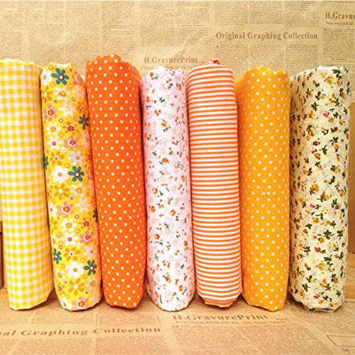 Gemini_mall® 7PCS, 25cm x 25cm, Baumwolle, mit Stoff Bundle Squares Patchwork Fussel DIY Nähen Scrapbooking Quilten Blumen-Muster Artcraft ()