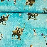 Stoffe Werning Baumwolljersey Digitaldruck Lizenzstoff Die Eiskönigin Hans & Sven mit Olaf -Preis Gilt für 0,5 Meter-
