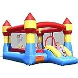 GOPLUS Château Gonflable pour Enfant de 3 à 10 Ans, Matériaux Tissu Oxford Ecologique, Filet de Protection Autour, Porte…