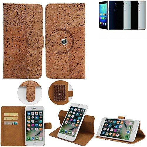 K-S-Trade Schutz Hülle für Haier Voyage V5 Handyhülle Kork Handy Tasche Korkhülle Schutzhülle Handytasche Wallet Case Walletcase Flip Cover Smartphone