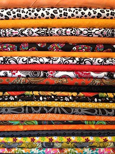 15x FQ 's sortiert orange & schwarz Quilting Stoff-100% Baumwolle-45,7x 55,9cm Zoll-Fat Quarter Bundle -
