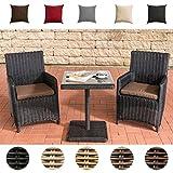 CLP Garten-Sitzgruppe PALERMO aus Polyrattan   Robuste Gartengarnitur mit Aluminiumgestell   Garten-Set bestehend aus 2 Stühlen und einem Tisch   In verschiedenen Farben erhältlich Rattanfarbe: Schwarz, Bezugfarbe: Terrabraun
