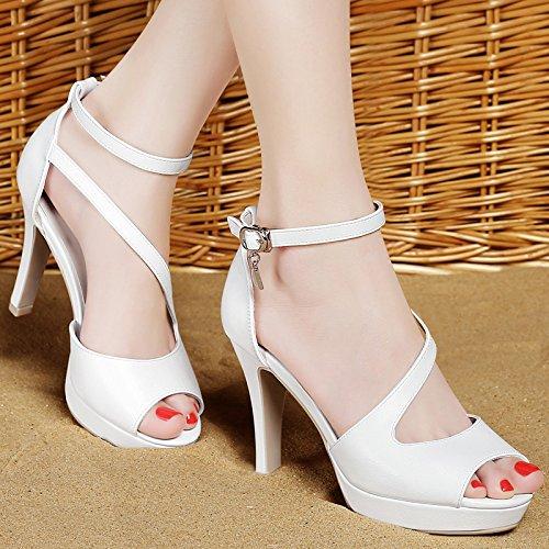 Damen Leder Schuhe Sommer Sandale Highheels, 39 Grau White