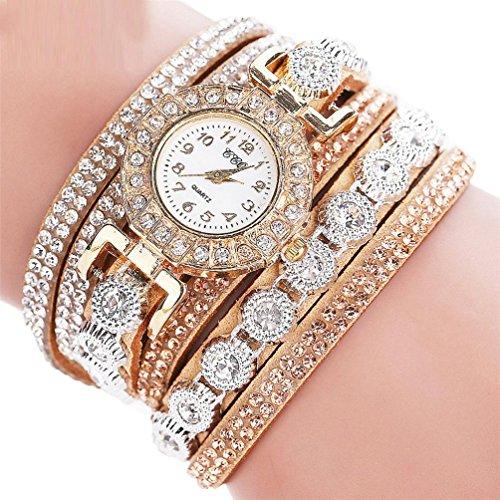 mingfa. Y Armbanduhr Quarz Diamant Armband Leder Charm Armband Schmuck Mode Armreif für Frauen beige (Sterlingsilber Yoga-schmuck)