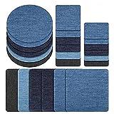 Defei 24 Stück 4 Farben 4 Größen Denim Baumwolle Patches,Patches zum aufbügeln,Flicken Sticker,DIY Kleidung Patches Aufkleber,zum Nähen oder Aufbügeln,für T-Shirt Jeans Hut Dekor Taschen.