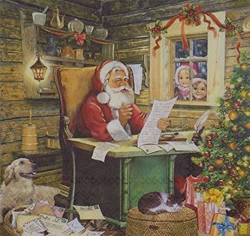 Noël Père Noël courrier rouge blanc 3-ply 20 Papier Serviettes de table 13 \