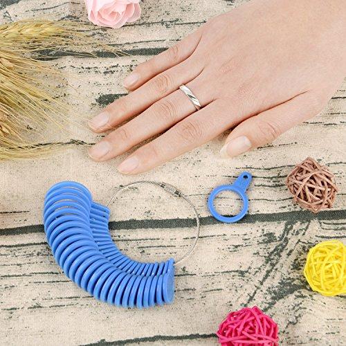 Shappy 27 Stück Kunststoff Ringgröße Messgeräte A-Z Finger Sizer Messung Ring Schmuck Werkzeugsatz (Blau) - 6