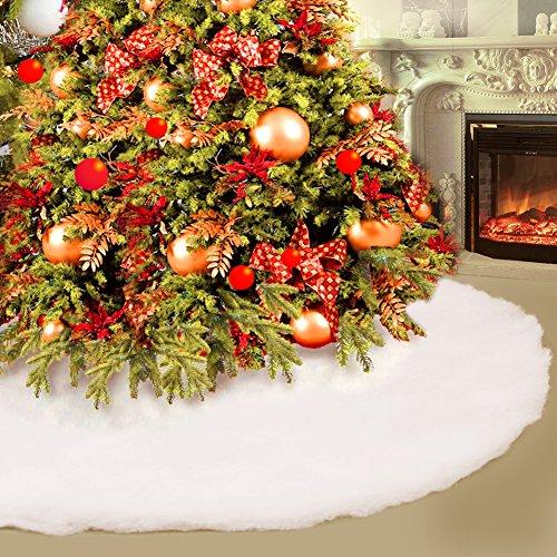 Konsait Weihnachtsbaum Rock 31.5 Zoll Durchmesser Runde Form Christbaumständer Schneeflocke weiß Weihnachtsbaum decke abdeckung für Weihnachtsbaum Verzierung Bodendekoration