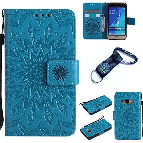 Preisvergleich Produktbild Galaxy J1 (2016) Hülle Blume Premium PU Leder Schutzhülle für Samsung Galaxy J1 (2016) J120 (4,5 ZollBookstyle Tasche Schale PU Case mit Standfunktion+Outdoor Kompass Schlüsselanhänge) (5)