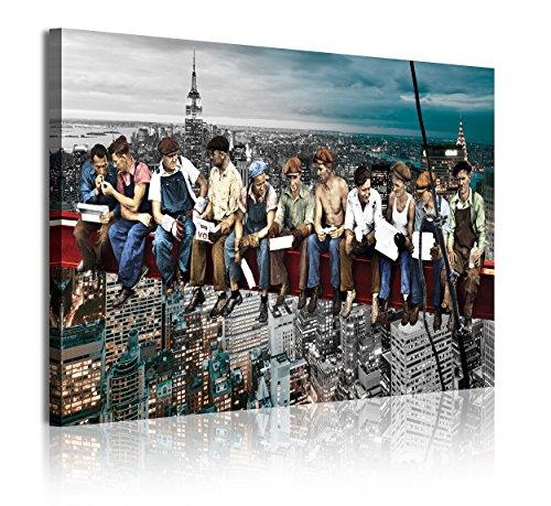 DekoArte 336 - Cuadro moderno en lienzo 1 pieza ciudad de Nueva York obreros sobre viga, 120x3x80cm