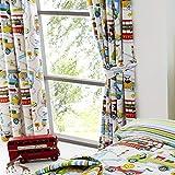Set de cortinas infantiles de galón fruncido - Estampado con animales del zoo - Blanco - 168 x 137 cm