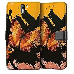DeinDesign OnePlus One Tasche Leder Flip Case Hülle Butterfly Schmetterling Grunge