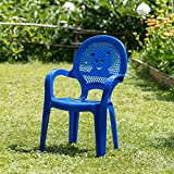 Resol Childrens Kids Garden Outdoor Plastic Chair - Blue - Childs Furniture (Pack of 2 chairs)