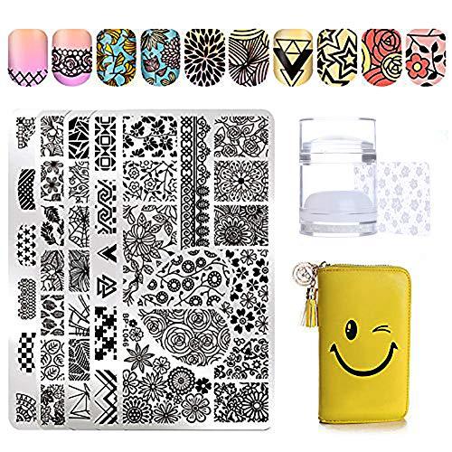 Born Pretty 5x Stamping Nail Teller Set Blume/Geometrie Design/Französisch Nail drucken Rechteck Teller Bild mit 2Schaber, Jelly Stempel & Stamping Schutz Sleeve