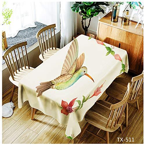 QWEASDZX Tischdecke Kleines frisches Polyester Digitaldruck Ölbeständiges Antifouling Rechteckige Tischdecke Geeignet für drinnen und draußen Wiederverwendbare quadratische Tischdecke 140x140cm
