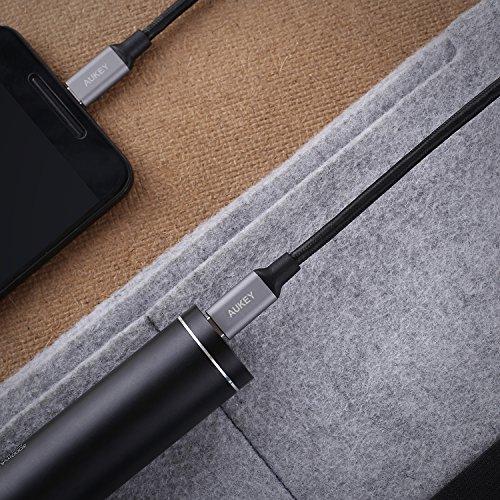 61kmXJwgLhL - [amazon] AUKEY USB-C auf USB-C Kabel mit Nylon Ummantelung (3x 1m) für nur 9,99€ statt 15,99€ *PRIME*