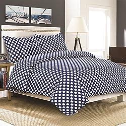 Últimos conjuntos de edredón con 2 fundas de almohada, todos los tamaños, algodón poliéster, Blue Dots, Juego de cama individual