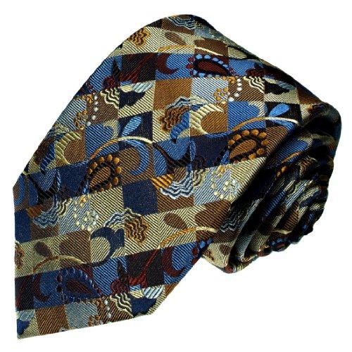 LORENZO CANA - blau braun gewebte Seidenkrawatte mit Karomuster und Paisley - Karo Krawatte 100% Seide - 36056 (Karo-paisley-krawatte)
