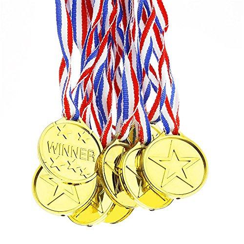 Upper 12 Stück Plastik-Medaillen, für Olympische Goldgewinner, Spielzeugpreise, Geschenke für Kinder und Partys