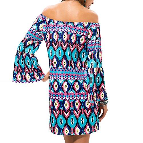 Mode Frauen Lose Casual Off Shoulder Mini Kleid Damen Sommer Strand Ethno-Style Party Kleid Stil 7