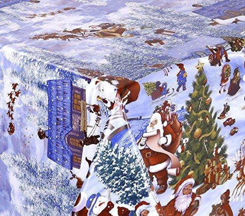 WACHSTUCH TISCHDECKE abwischbar Meterware, Größe wählbar, 100x140 cm, Glatt Weihnachten Schnee