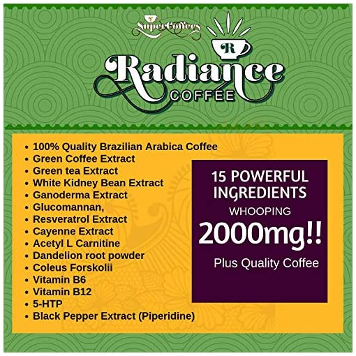 Supercoffees Radiance Coffee Supports Weight Management – 15 Ingredient Complex Skinny Coffee Work as Preworkout Energy Drink – Green Coffee Bean Extract Helps to Reduce Bloating – 150 Grams