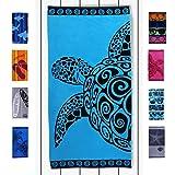 DecoKing Serviette de Plage 90x180 cm Coton Tissu Éponge Velours Drap de Bain Turquoise Bleu Azur Noir Turquoise Turtle
