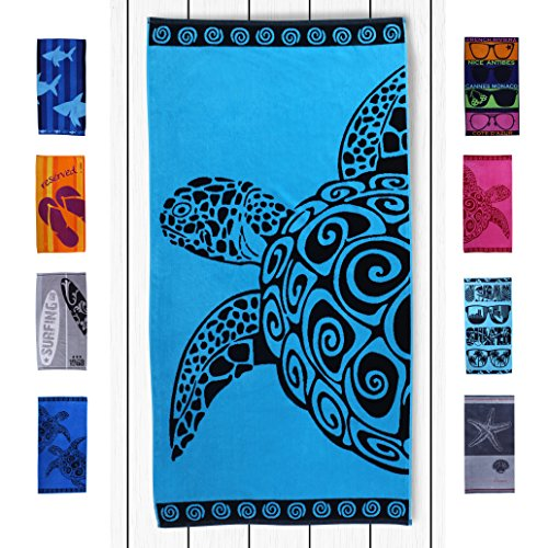DecoKing Serviette de Plage 90x180 cm Coton Tissu Éponge Velours Drap de Bain Turquoise Bleu Azur Noir Turquoise Turtl