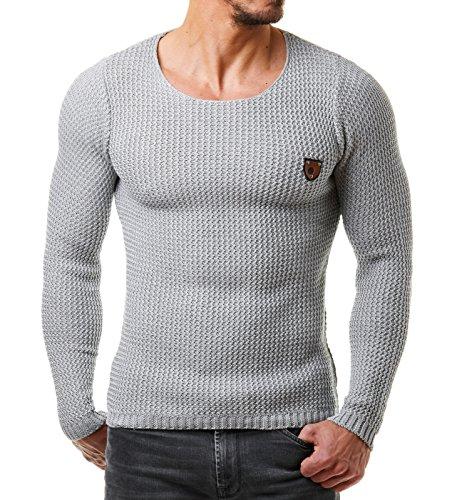 EightyFive Herren Pullover Feinstrick Slim Fit Schwarz Weiß Grau Beige EF1472 Grau