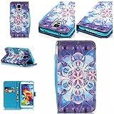Qiaogle Téléphone Coque - PU Cuir rabat Wallet Housse Case pour Samsung Galaxy A3 (2016) / A3 (2016) Duos / A3100 (4.7 Pouce) - YB15 / 3D Celadon fleur